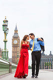 Romantic Couple on Westminster Bridge by Big Ben, London, Englan