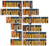 months in letterpress wood type