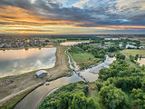 sunrise over Poudre River - aerial view