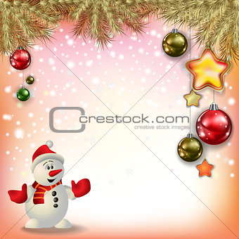 Abstract greeting with snowman and decorations