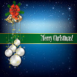 Christmas greeting with hand bells and snowflakes