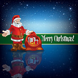 Christmas greeting with Santa Claus and snowflakes