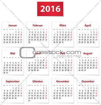 2016 German calendar