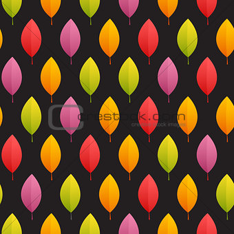 Autumn Leaves Seamless Pattern on Dark Background