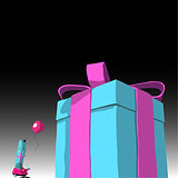 happy blue cartoon character with balloon and large present