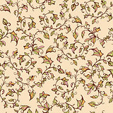 vector seamless floral pattern with leaves and branches
