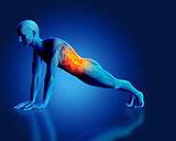 3D blue medical figure in plank position