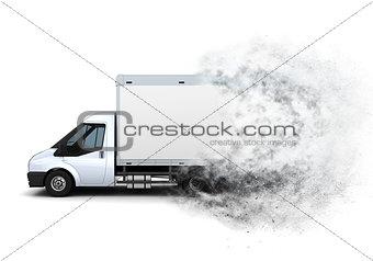 3D flat bed van with speed effect