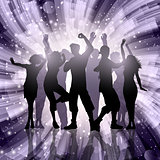 Silhouettes of party people on abstract swirl background