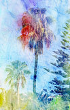 Beautiful watercolor palm trees