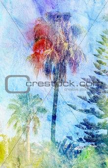 Beautiful watercolor palm trees