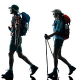 couple trekker trekking walking nature silhouette