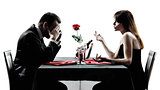 couples lovers dating dinner  dispute separation silhouettes