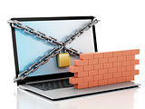 3d Laptop with lock and brick wall. Firewall concept.