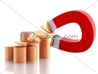 3d horseshoe magnet attracting golden coins.