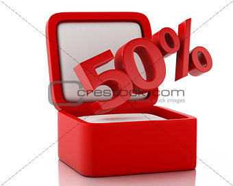 3d gift box with 50 percent discount.