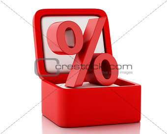 3d gift box with percent discount sign.