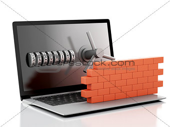 3d Laptop with combination Lock and brick wall. Firewall concept