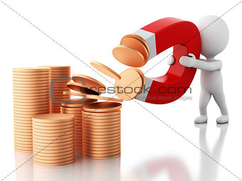3d white people with horseshoe magnet attracting money.