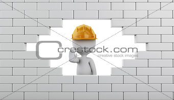 3d Broken Brick Wall with white people.