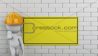 3d Under construction sign on brick wall.