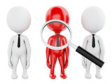 3d magnifier searching people or employee.