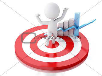 3d white people with business statistic graph in red target.