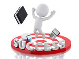 3d white people business success in red target.