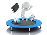 3d business people, happy jumping for the success in trampoline.