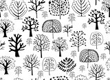 Seamless pattern with trees, sketch for your design