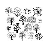Trees collection, sketch foryour design