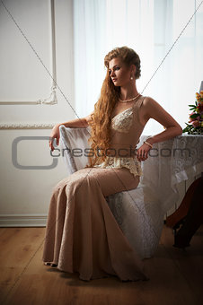 Beautiful woman in the interior