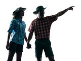 couple trekker trekking pointing nature silhouette