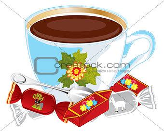 Cup coffee and sweetmeats