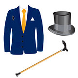 Suit and hat with walking stick