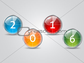 Glowing 2016 countdown icons with shadow