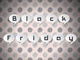 Black Friday text on speech bubbles