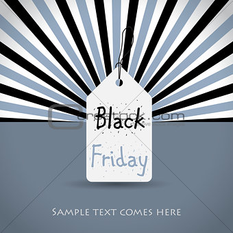 Black friday background with white tag