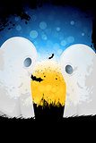 Grungy Halloween Background with Moon and Ghosts