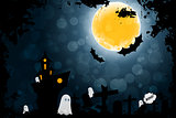 Grungy Halloween Background with Ghosts
