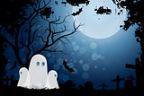 Halloween Background with Ghost and Graveyard