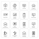 Business & Money Icons Set. Flat Design.