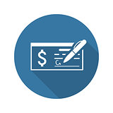 Money Check Business Icon. Flat Design. Long Shadow.