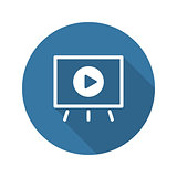 Video Presentation Icon. Business Concept. Flat Design. Long Sha