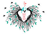 heart wedding tree with birds, vector