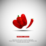 Red hot chili pepper isolated on a white background cartoon illustration - vector