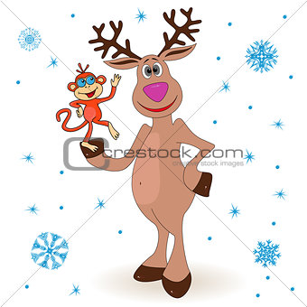 Amusing reindeer holding a small monkey
