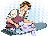 Woman housewife wife stroking his shirt iron homework