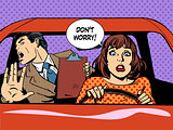 woman driver driving school panic calm