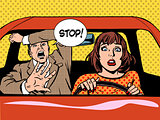 stop woman driver driving school panic calm